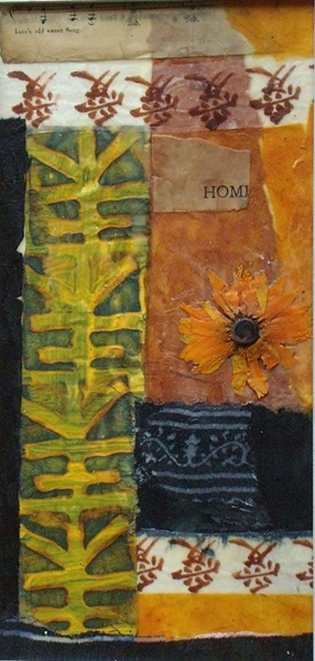 Susanne Mason,home (encaustic collage on board 34 x 20cm)