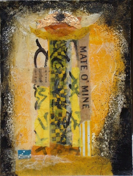 Susanne Mason,Mate (encaustic collage on board 34 x 26cm)