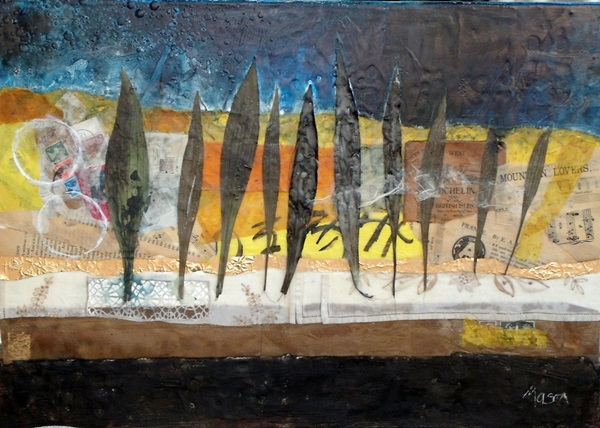 Susanne Mason,across the fields (SOLD, encaustic collage on board)