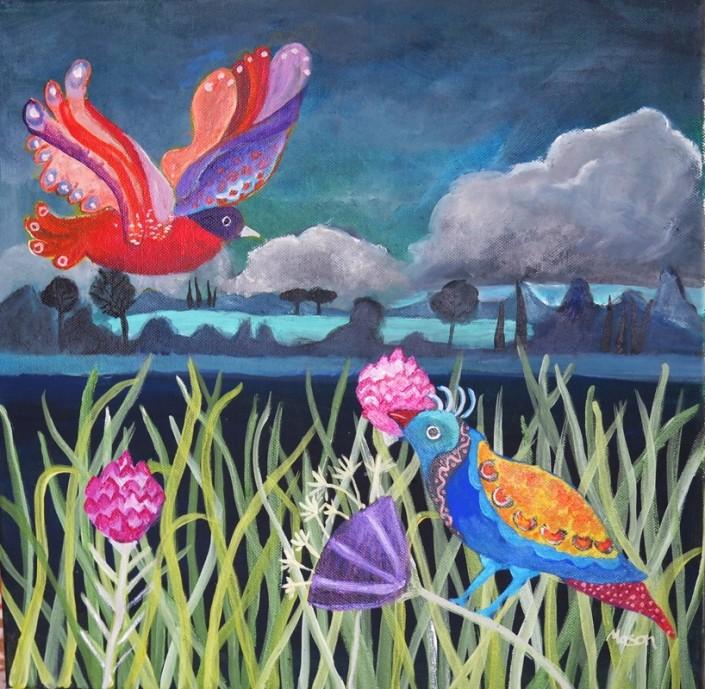Susanne Mason, dusk (acrylics on canvas 40 x 40cm)