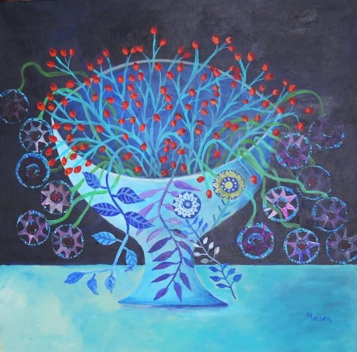 Susanne Mason,autumn joy (acrylics on canvas 50 x 50cm