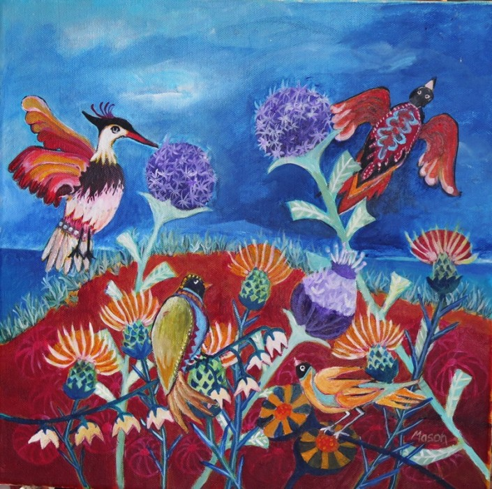 Susanne Mason,breeze (acrylics on canvas 40 x 40cm)