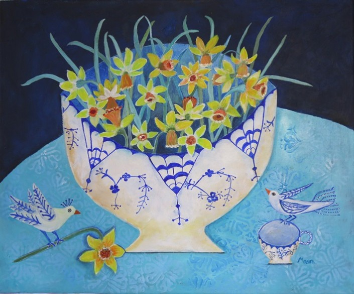 Susanne Mason,daffs (acrylics on canvas 65 x 50cm)
