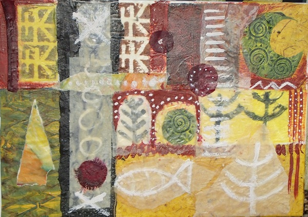 Susanne Mason,decreasing moon (SOLD, encaustic collage on board)