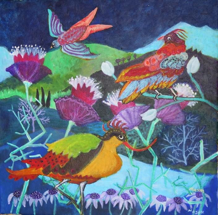 Susanne Mason,jungle (acrylics on canvas 40 x 40cm)