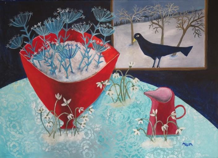 Susanne Mason,hint of spring (acrylics on canvas 70 x 50cm)