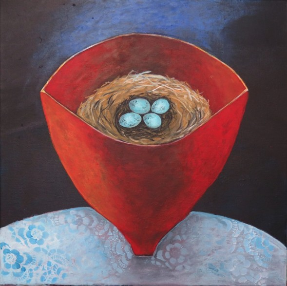 Susanne Mason,nest (acrylics on canvas 40 x 40cm)