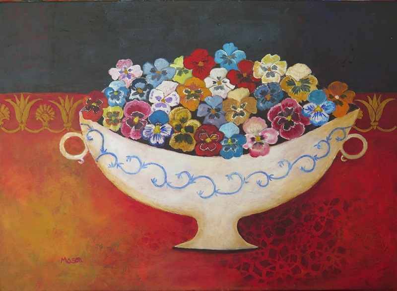 Susanne Mason, pansies (acrylics on canvas 70 x 50cm)