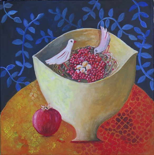 Susanne Mason,pomegranate nest (acrylics on canvas 40 x 40cm)
