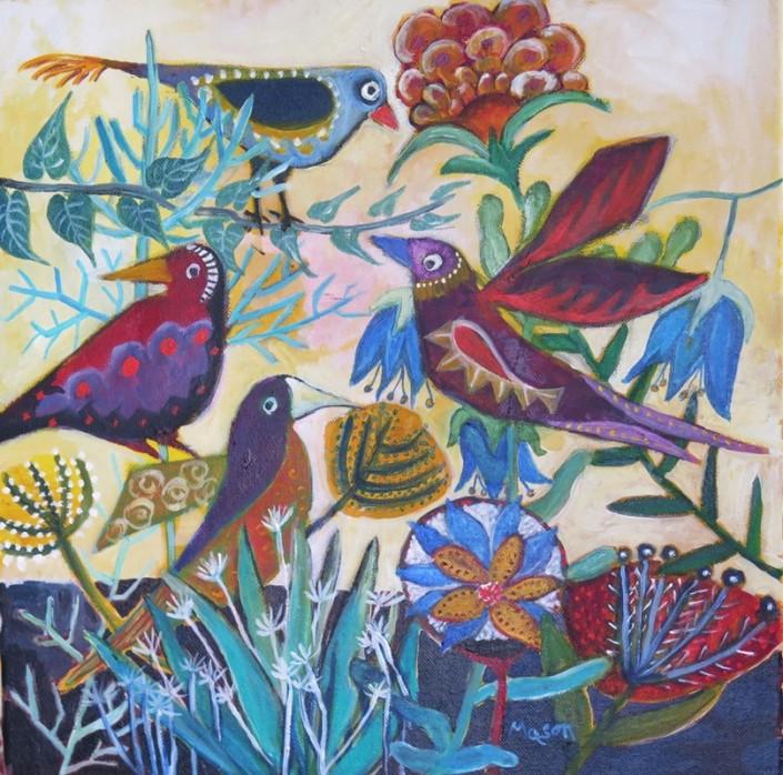 Susanne Mason, take flight (acrylics on canvas 40 x 40cm)