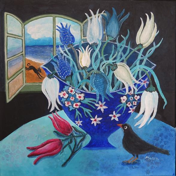 SOLD Susanne Mason,Tulips delight (acrylics on canvas 40 x 40cm)