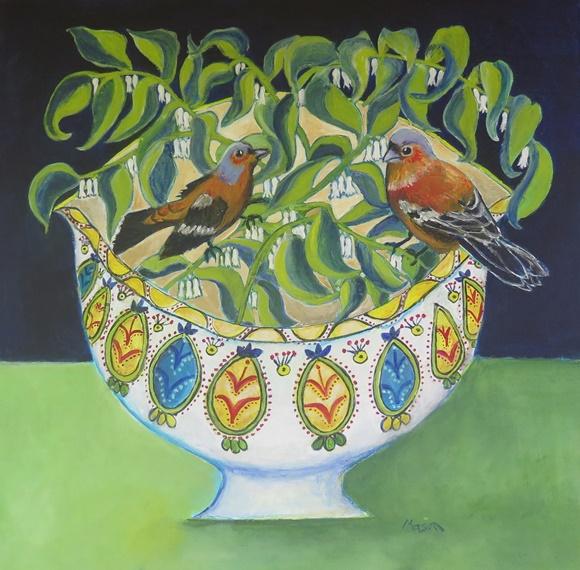 Susanne Mason, Among the Solomon's seals (acrylics on canvas, 50x50cm)