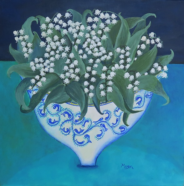 Susanne Mason,Lily of the valley (arylics on canvas, 40x40 cm)