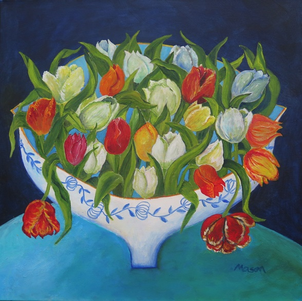 Susanne Mason, bouquet, acrylics on canvas 40x40cm