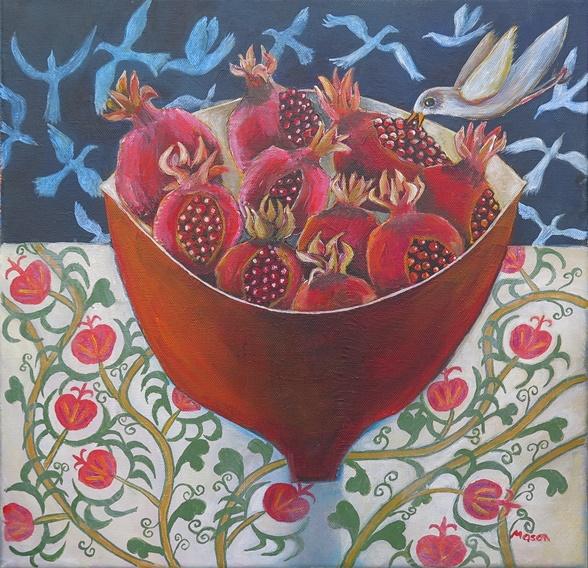 Susanne Mason, delicious gift, acrylics on canvas 40x40cm