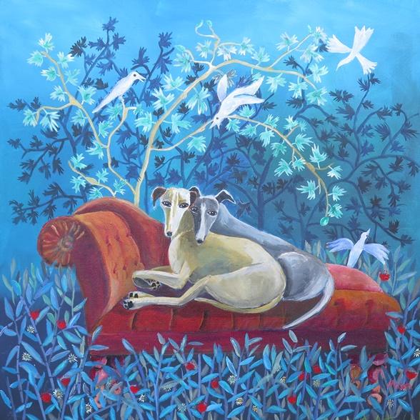 Susanne Mason, friends, acrylics on canvas 50x50cm