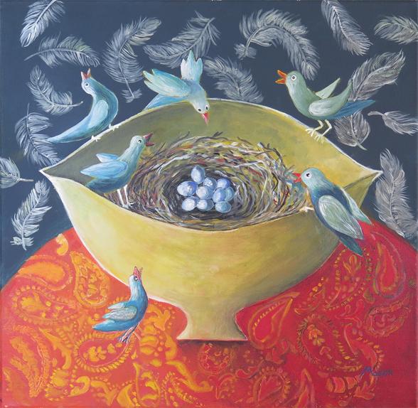 Susanne Mason, jubilation, acrylics on canvas 40x40cm