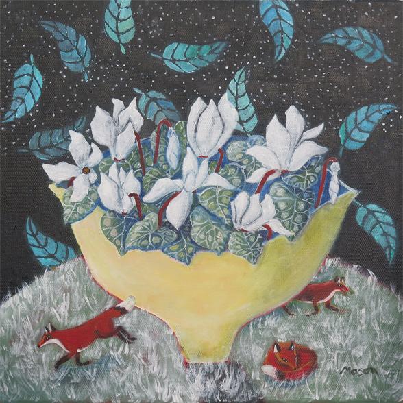 Susanne Mason, night visitors, acrylics on canvas 40x40cm