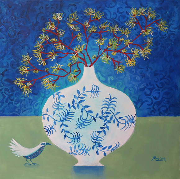 Susanne Mason, witchhazel - (acrylics on canvas, 50x50cm)