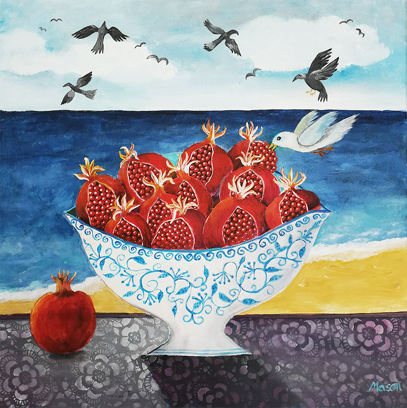 Pomegranates with sea view, by Susanne Mason