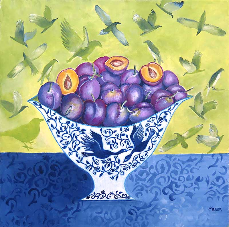 Plums, stillife by Susanne Mason