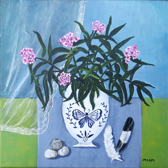 Pink Oleander (acrylics on canvas 40x40 cm), by Susanne Mason