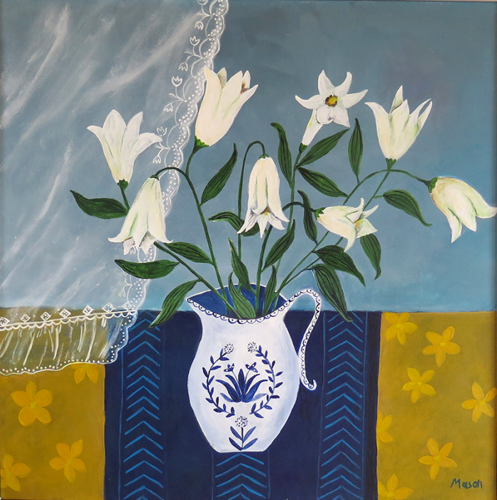 White Lillies, (acrylics on canvas 50x50cm) by Susanne Mason