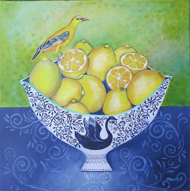 Citrus Delight (acrylics on canvas, 50x50cm), by Susanne Mason
