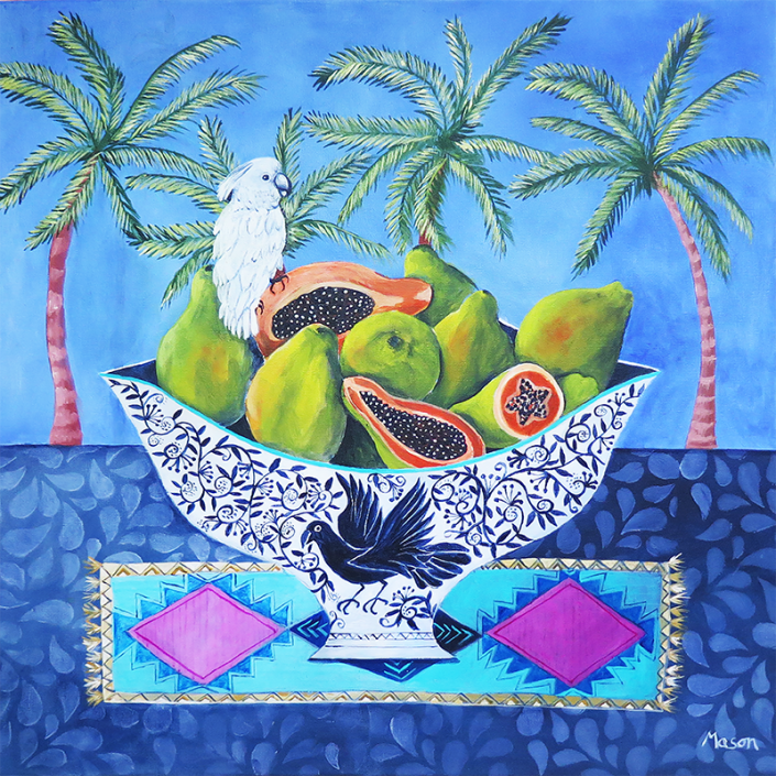 Papayas (acrylics on canvas 50x50cm), by Susanne Mason