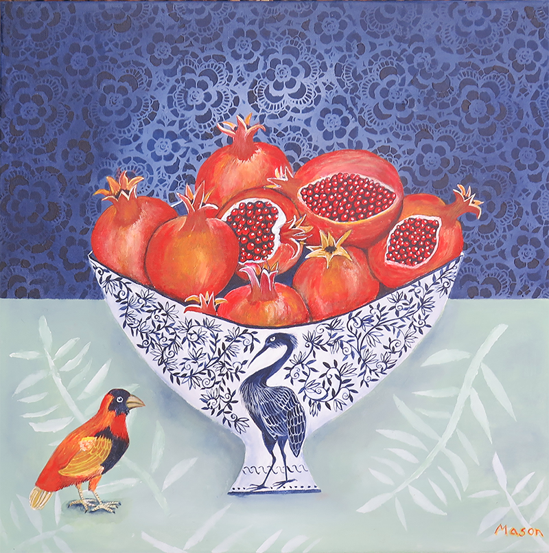 Pomegranates with two Birds (acrylics on canvas, 50x50 cm)