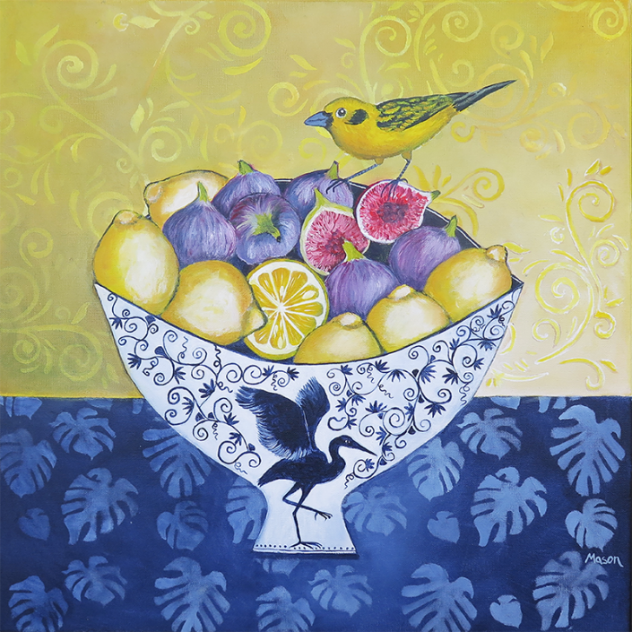 Figs and Lemons with Golden Tanager, by Susanne Mason (acrylics on canvas 50x50cm)