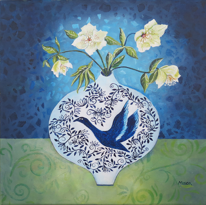 Hellebores, by Susanne Mason (acrylics on canvas 40x40 cm)