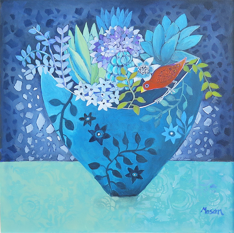Little Garden, by Susanne Mason (acrylics on canvas 40x40 cm)