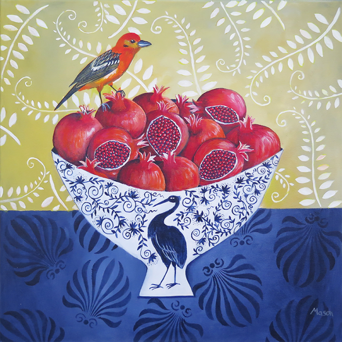 Pomegranates with flame coloured Tanager, by Susanne Mason (acrylics on canvas 50x50 cm)
