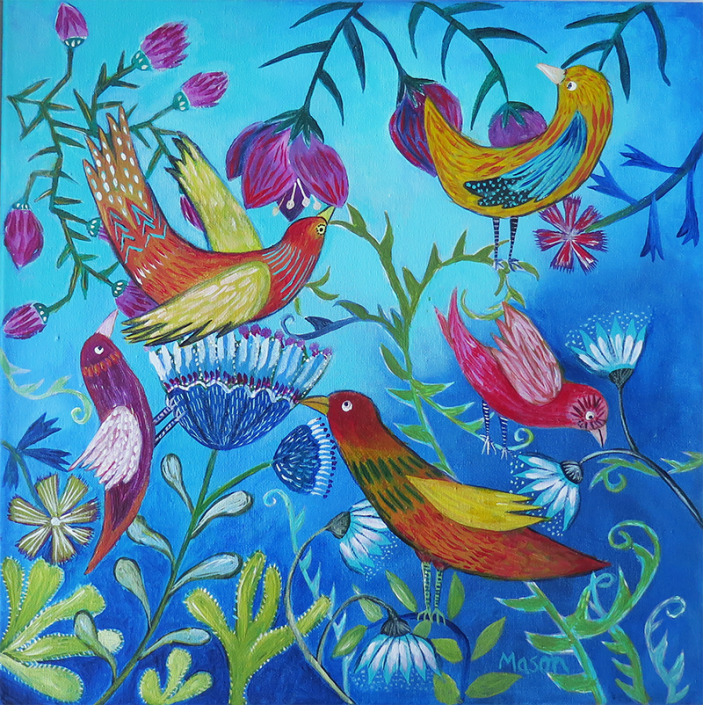 Morning Joy, by Susanne Mason (acrylics on canvas 40x40cm)