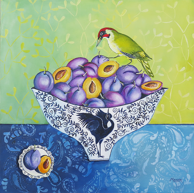 Plums with green Woodpecker, by Susanne Mason (acrylics on canvas 50x50 cm)