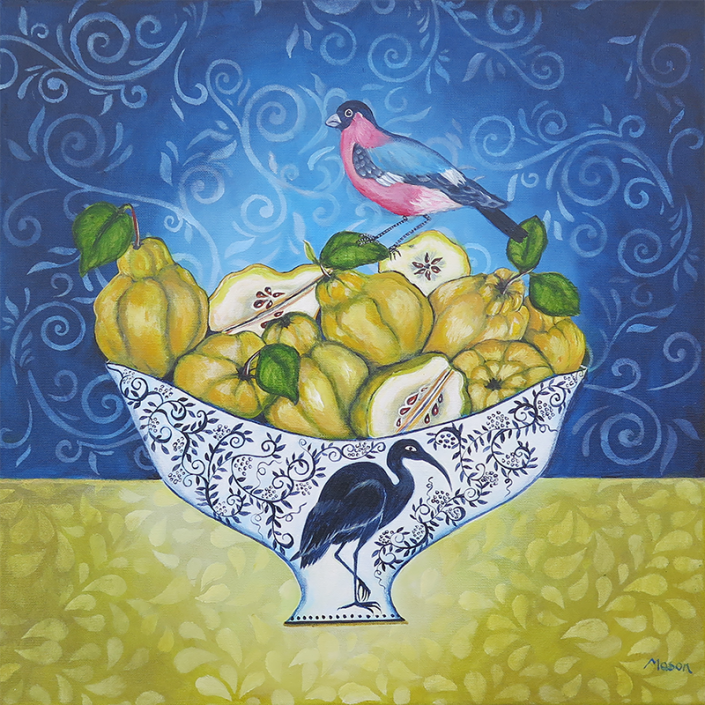 Quinces with Bullfinch, by Susanne Mason (acrylics on canvas, 50x50 cm)