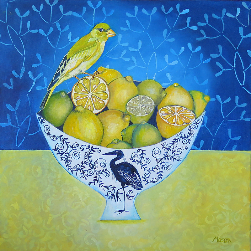 Citrus Fruits with Greenfinch, by Susanne Mason (acrylics on canvas, 50x50 cm)