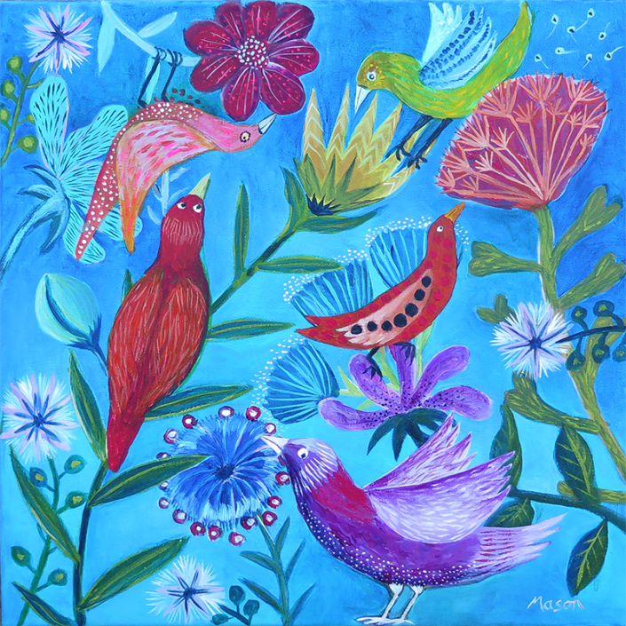 Playing Birds, by Susanne Mason (acrylics on canvas 40x40cm)