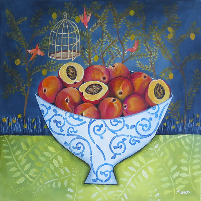 Livia's Garden, by Susanne Mason (acrylics on canvas 50x50 cm)