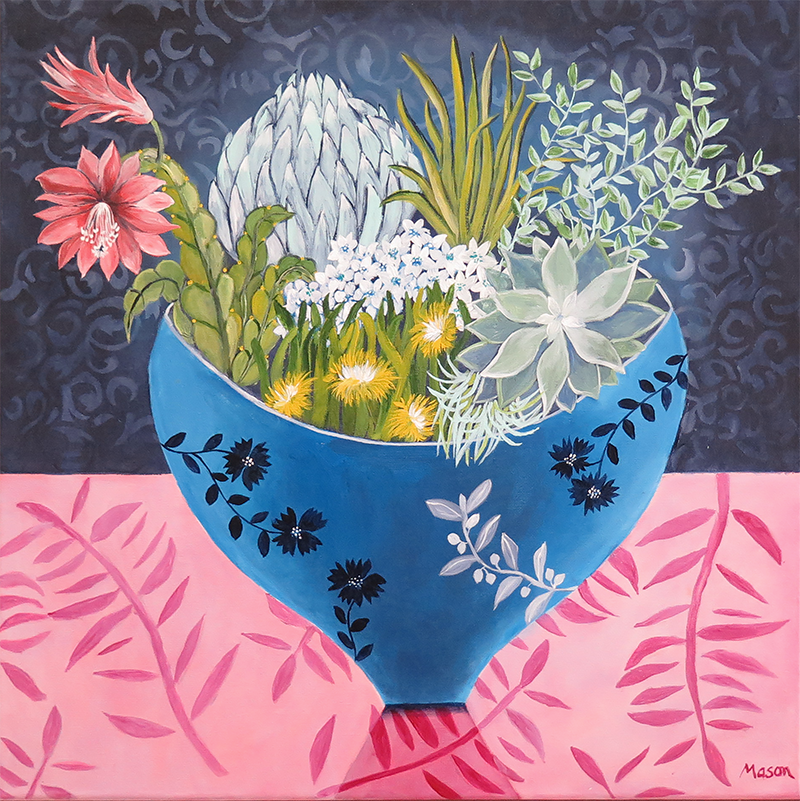 Succulence,by Susanne Mason (acrylics on canvas 50x50 cm)