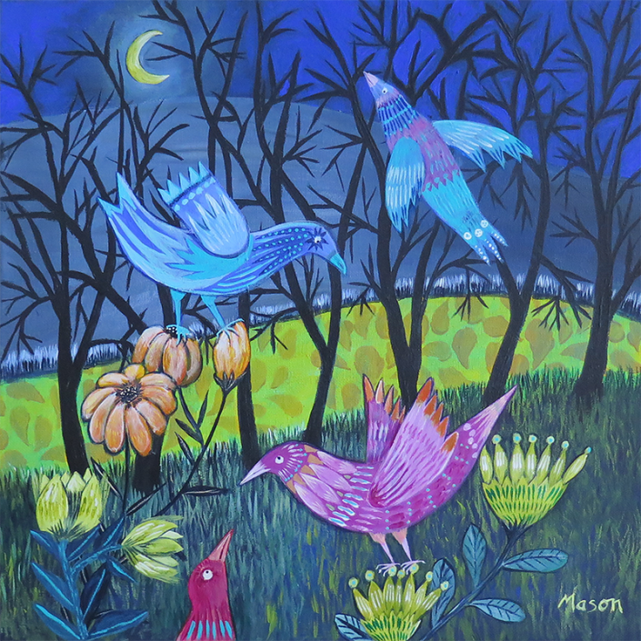 As Night falls, by Susanne Mason (acrylics on canvas 40x40 cm)