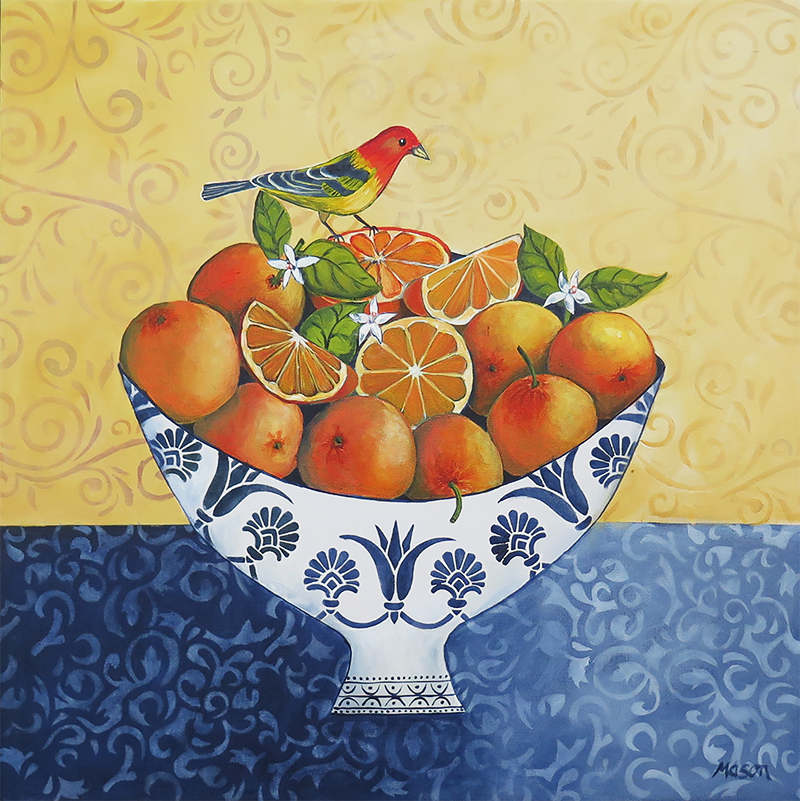 Oranges, by Susanne Mason (acrylics on canvas 50x50 cm)